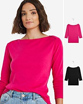 Black/Pink 2 Pack 3/4 Sleeve Slash Neck Tops