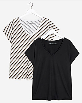 Stripe and Solid 2 Pack Slouch T-Shirts