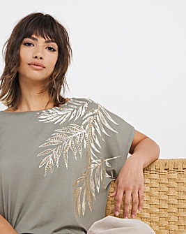 Placement Palm Print Cross Back Top