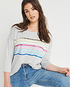 Foil Stripe Curved Hem Top