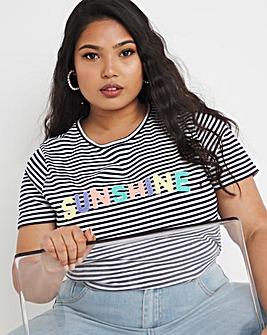 Sunshine Slogan Stripe T Shirt