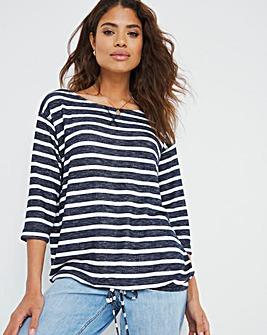 Stripe Drawcord Hem Top
