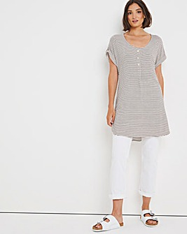 Short Sleeve Button Trim Stripe Tunic