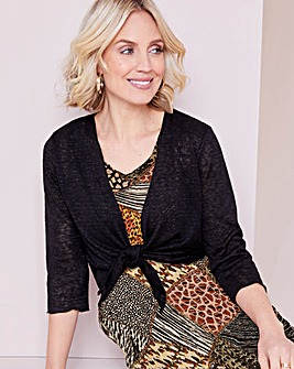 Julipa Black Tie Front Jersey Shrug