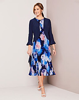 Floral Print Jersey Dress and Shrug 39in