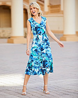 Floral Print Stretch Jersey Dress