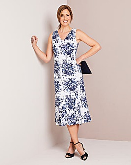 Printed Linen Mix Sun Dress