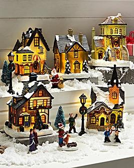 5 Piece Deluxe Christmas Village Scene