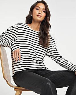 Mono Stripe Puff Sleeve Layering Top