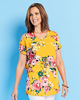Yellow Print Cold Shoulder Top