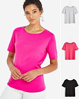 Black / Grey Marl / Pink 3 Pack T-Shirts