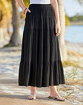 Black Crinkle Tiered Pull On Skirt