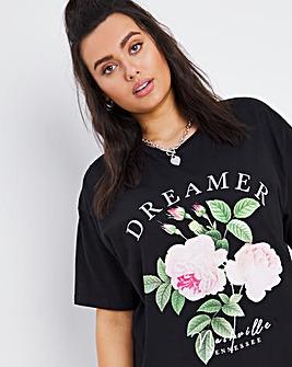Black Floral Dreamer T-Shirt