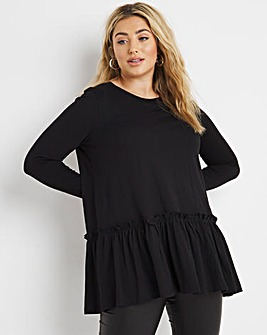Black Tiered Long Sleeve Jersey Tunic
