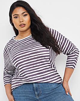 Mixed Stripe 3/4 Sleeve Top