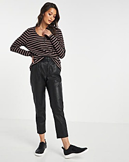 Mono Stripe Ribbed Top with Zip Detail