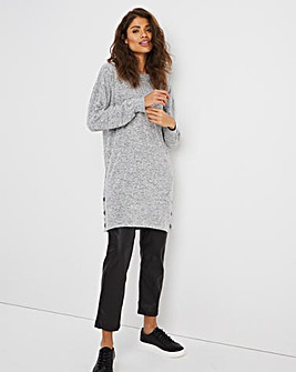 Knit Look Side Button Trim Top