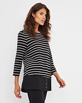 Knit Look Stripe/Woven Hem Longline Top