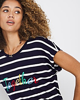 Together Embroidered Stripe T-Shirt