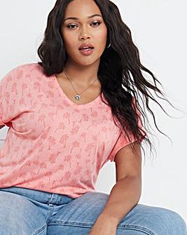 Palm Burnout V Neck T-Shirt