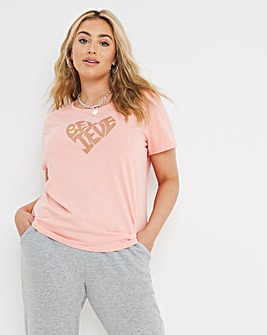 Pink Believe Heart Print Tee