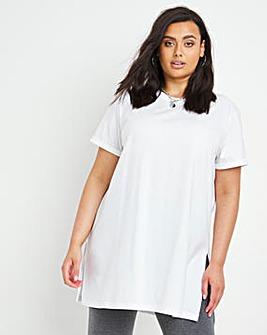 white Split Side Crew Neck T-Shirt
