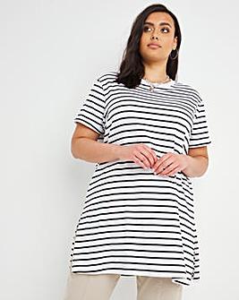 Stripe Split Side Crew Neck T-Shirt