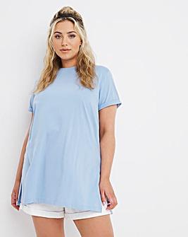 Blue Split Side Crew Neck T-Shirt