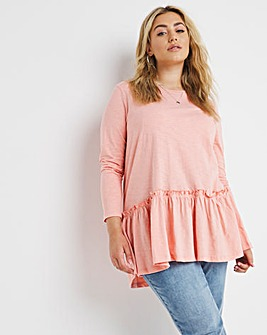 Pink Tiered Long Sleeve Jersey Tunic