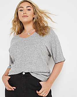 Knit Look Batwing Slouch Top
