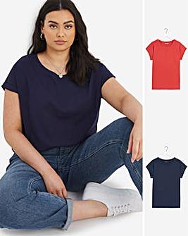 Red/Navy Pack 2 Boyfriend T Shirts