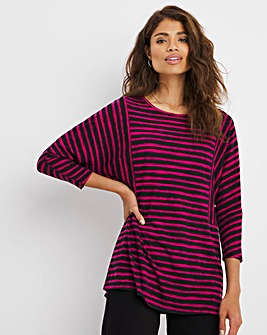 Mixed Stripe 3/4 Sleeve Jersey Top