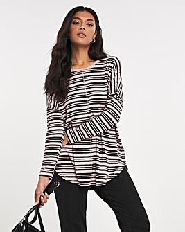 Stripe Oversized Round Neck Top