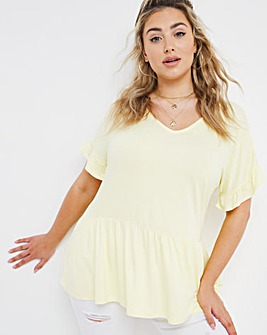 Lemon V-neck Frill Sleeve Top