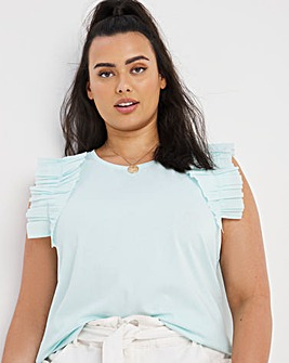 Cotton Frill Sleeve Jersey Top