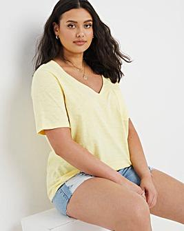 Lemon Marl V-Neck Pocket T-Shirt