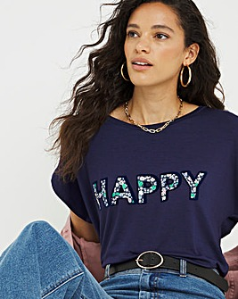 Happy Floral Slogan T-Shirt