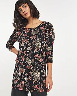 Floral Puff Sleeve Value Cotton Tunic