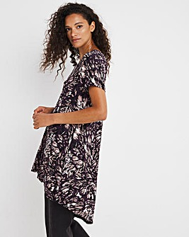 Feather Print Zip Detail Tunic