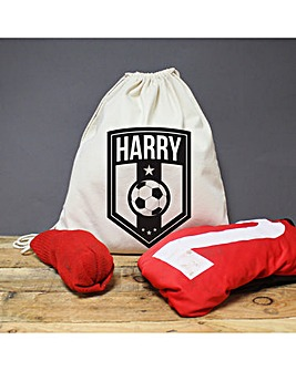 Personalised Football Badge Draw String Bag