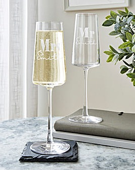 Personalised Mr & Mrs Champagne Flute