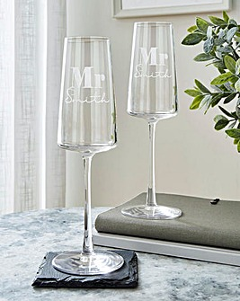 Personalised Mr & Mr Champagne Flutes
