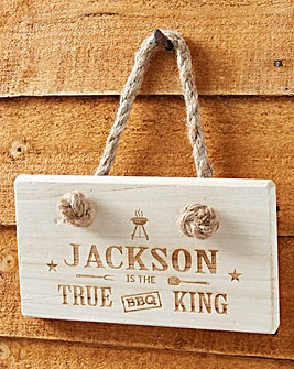 Personalised King of BBQ Wooden Sign