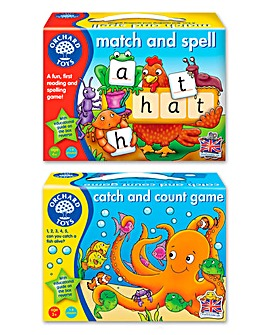 Orchard Toys Match and Spell & Catch and Count 2 Pack Game