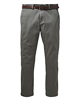 Grey Belted Smart Stretch Chino 29 in