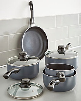 Everyday Non-Stick Grey Aluminium 5 Piece Pan Set