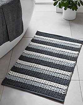 Grey Stripe Ribbed Cotton Bath Mat