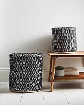 Set of 2 Monochrome Woven Baskets