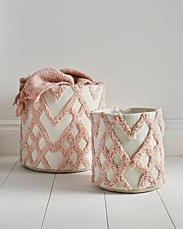 Set of 2 Pink Ruffled Woven Baskets