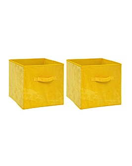 Set of 2 Velvet Cube Storage Basket